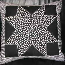 Black and White Large Ohio Star with Stripes Pillow