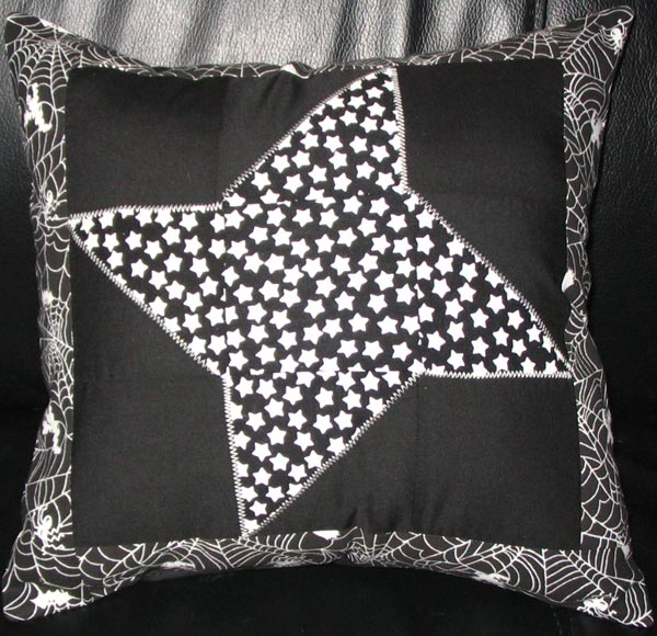 Black and White Friendship Star with Spider Webs Pillow