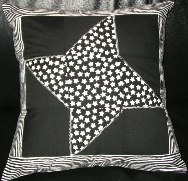 Black and White Friendship Star with Stripes Pillow